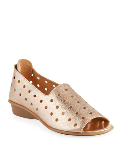 Edwina Perforated Leather Slip-On Flats