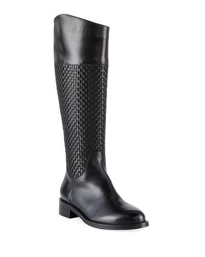 Zelima Woven Leather Knee Boots