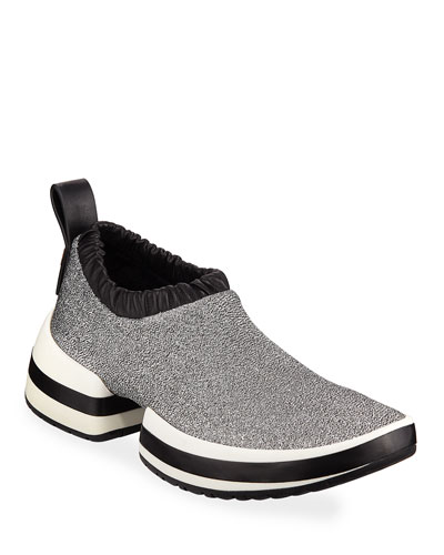 SW612 Metallic Fabric Platform Slip-On Sneakers