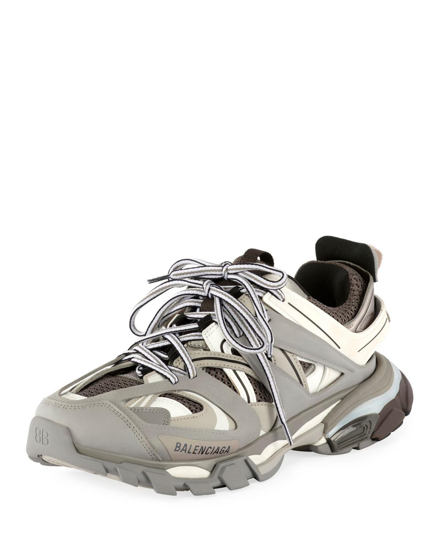 Women'S Track Mixed-Media Sneakers in Grey