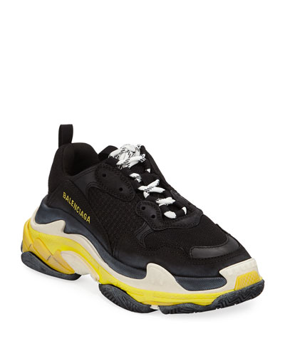Triple S Nylon Sneakers with Logo, Noir/Jaun