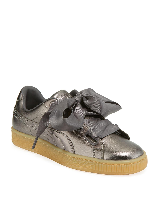 Basket Heart Luxe Metallic Leather Sneakers