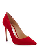 Jimmy Choo Romy 100mm Suede Point-Toe Pumps