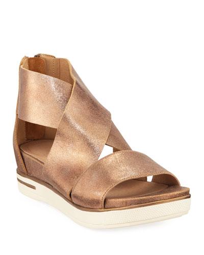 Sport Metallic Leather Platform Sandals