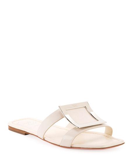 Roger Vivier Flat Leather Buckle Sandals