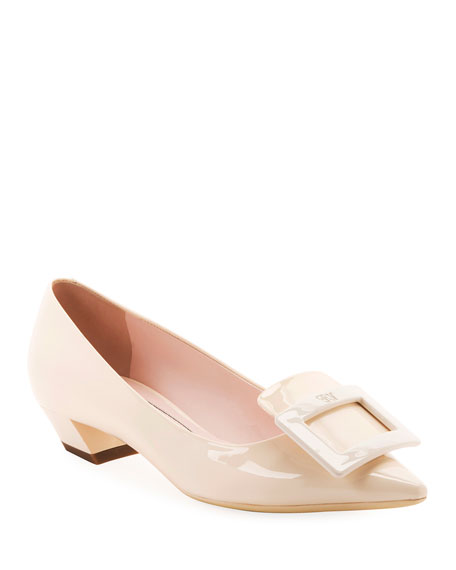 Roger Vivier Gommette Patent Pointed Pumps, Nude