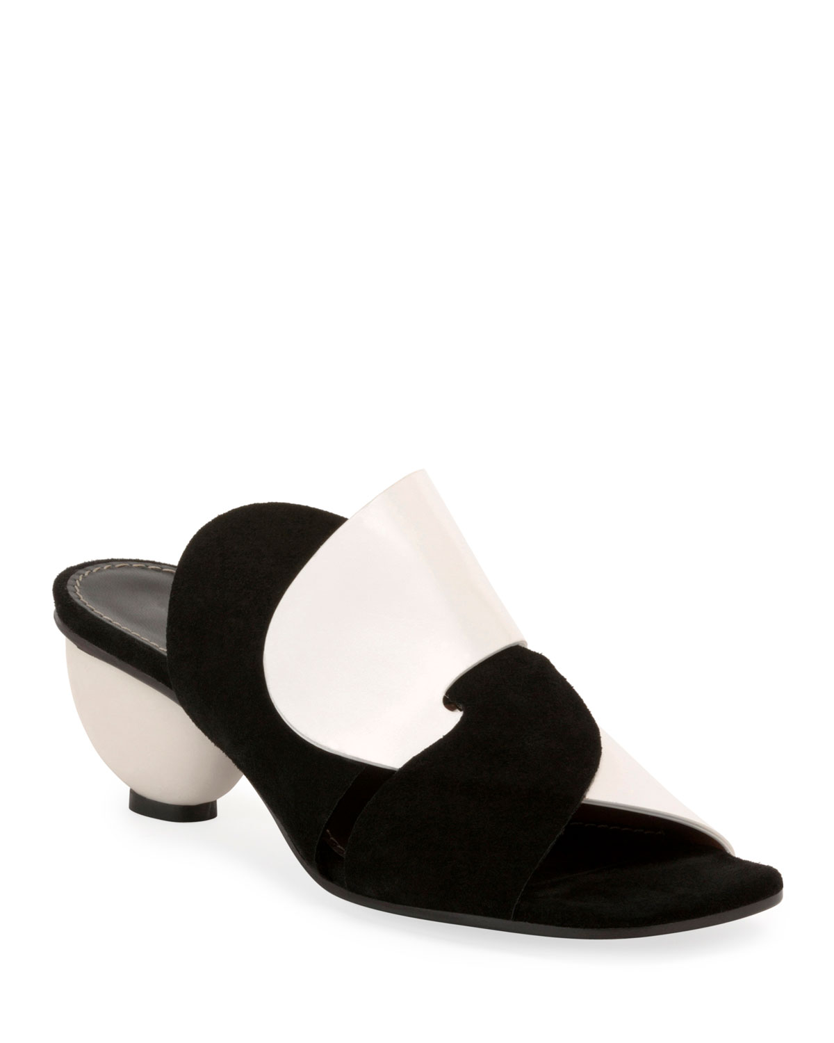 Suede and Leather Ball-Heel Slide Sandals