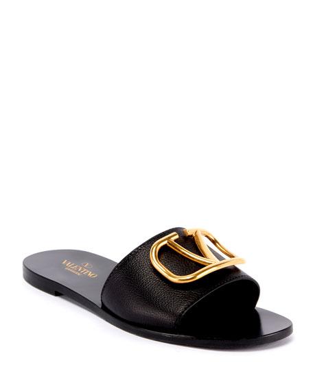 Valentino Garavani VLOGO Flat Leather Slide Sandals