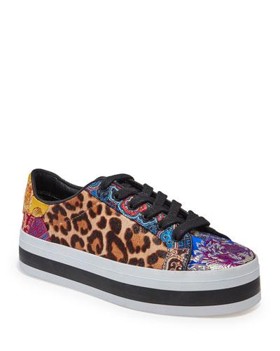 Ezra Leopard-Print Platform Sneakers