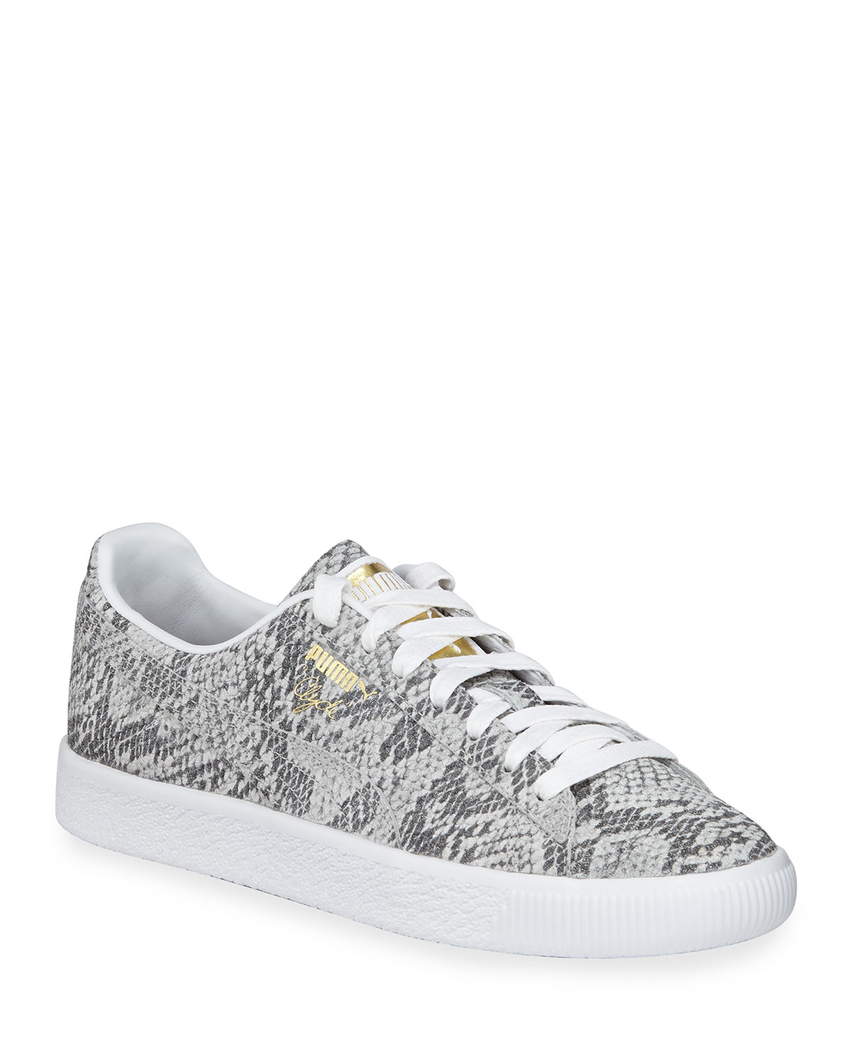 Clyde Snake-Print Leather Lace-Up Sneakers