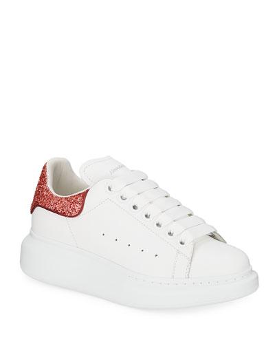 Oversized Glitter-Trim Leather Platform Sneakers