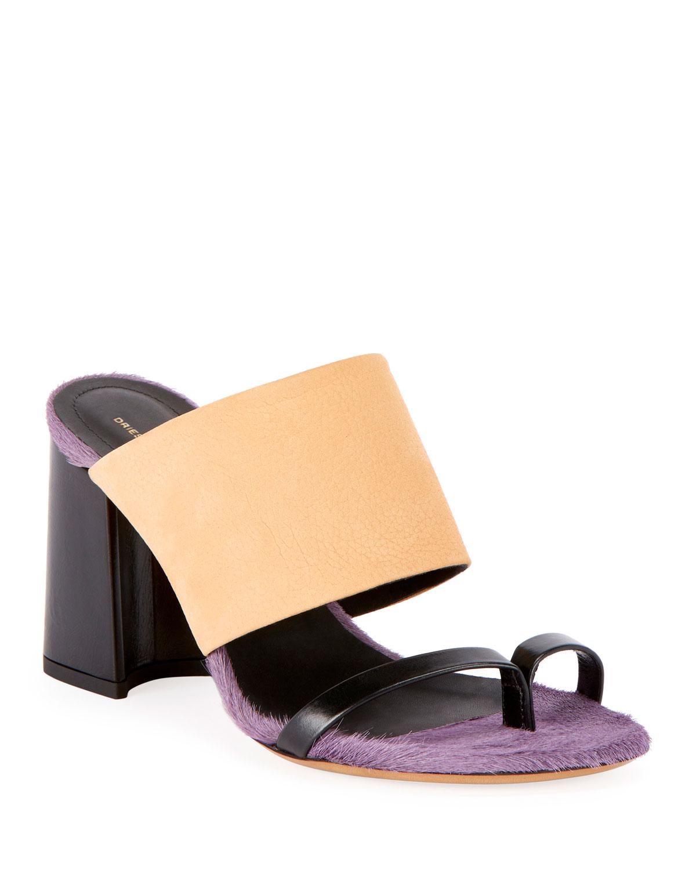 Calf-Hair Trim Toe-Ring Chunky Slide Sandals