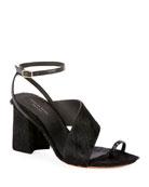Dries Van Noten Asymmetric-Strap Calf Hair Chunky Sandals