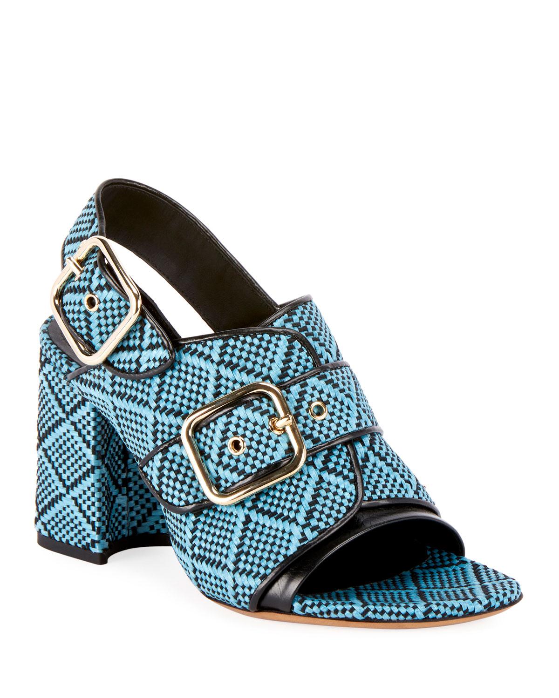 Raffia Calf-Leather Chunky Heel Sandal s