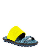 Dries Van Noten Sport-Sole Raffia-Leather Slides