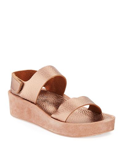 Lacey Metallic-Leather & Suede Flatform Sandals