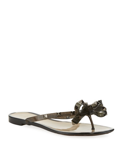 Rockstud Flat Jelly Thong Sandals