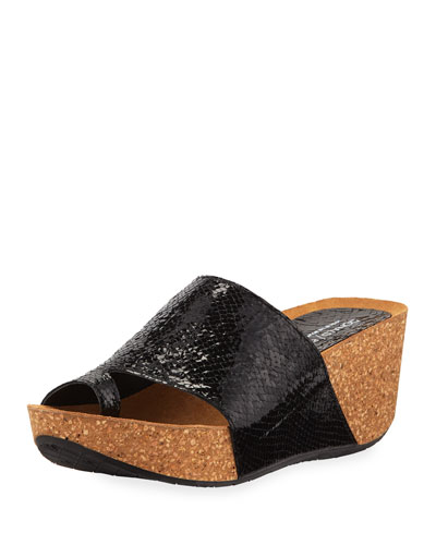 Ginie Metallic Snake-Print Leather Wedge Slide Sandals