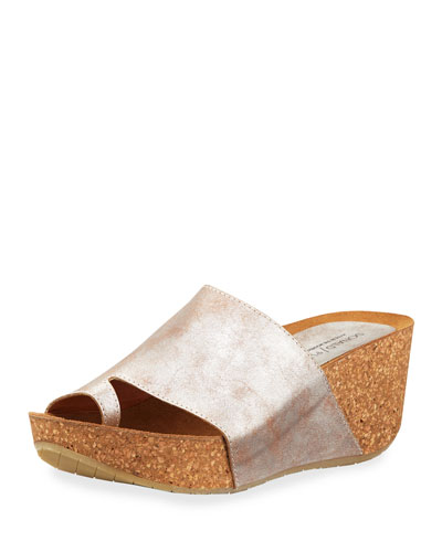 Ginie Metallic Leather Wedge Slide Sandals