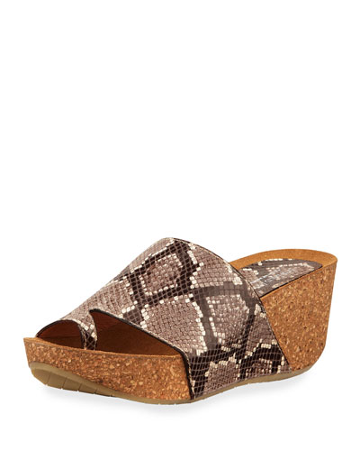 Ginie Snake-Print Leather Wedge Slide Sandals