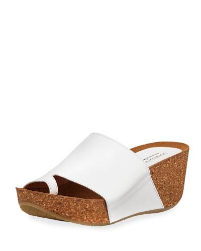 Ginie Napa Leather Wedge Slide Sandals