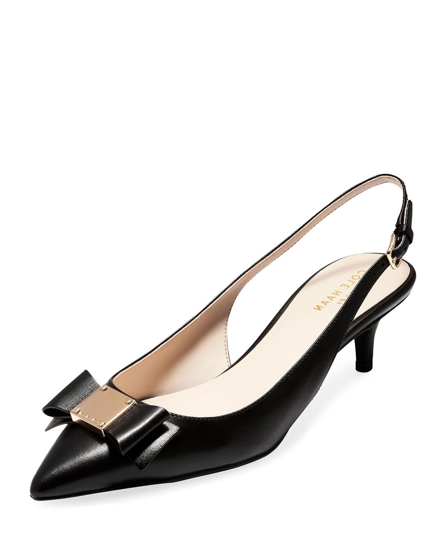 Tali Grand Bow Kitten-Heel Leather Pumps, Black
