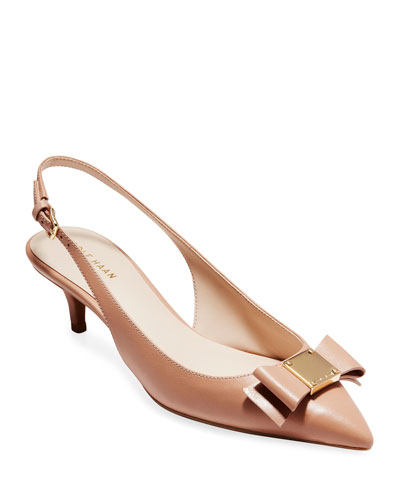 Tali Grand Bow Kitten-Heel Leather Pumps, Nude