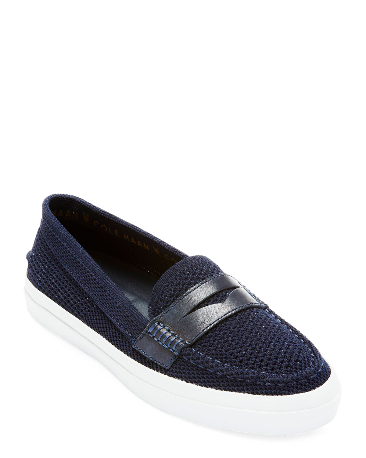 4e8d8bb3f8b A leather penny strap references a classic look on a contemporary loafer  fashioned from stretch-knit fabric to keep you feeling cool and breezy.