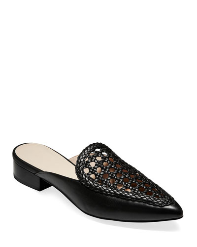 Payson Grand Woven Leather Mules, Black