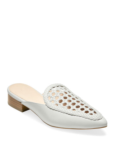 Payson Grand Woven Leather Mules, White