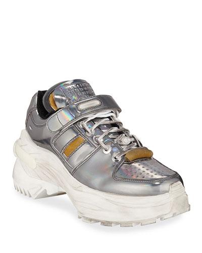 Deconstruct Metallic Leather Trainer Sneakers