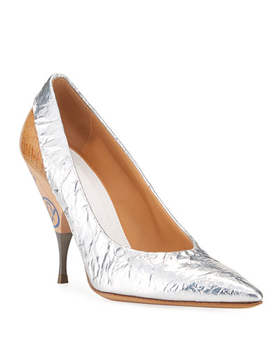 Deconstruct Crinkled Metallic Pumps