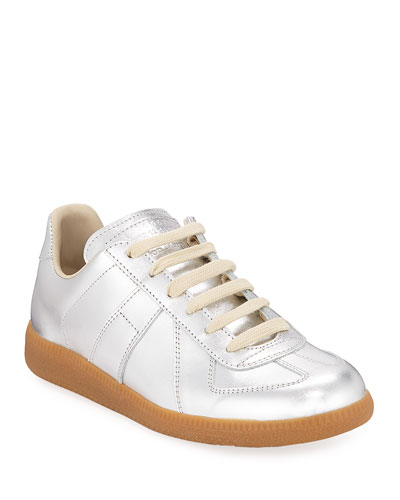 Replica Laminated Metallic Low-Top Sneakers