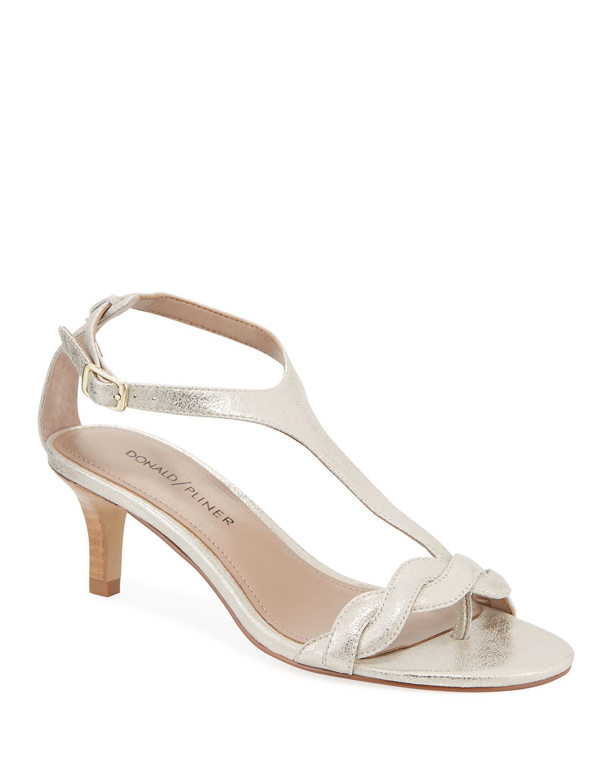 Kate Metallic Leather T-Strap Sandals