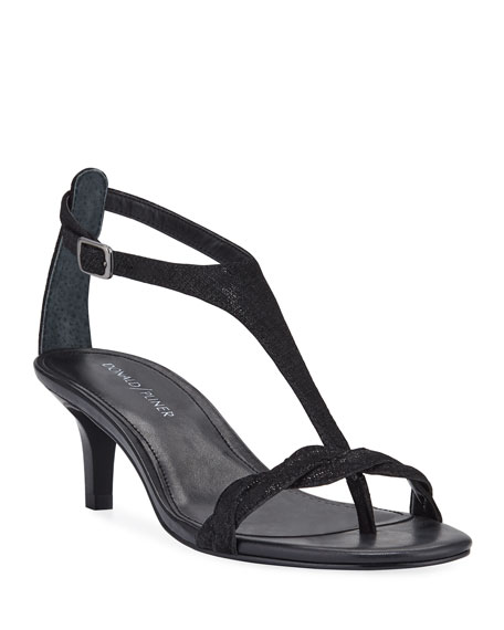 Donald J Pliner Kate Metallic Suede T-Strap Sandals