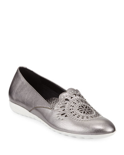 Ben Embellished Metallic Leather Comfort Loafers