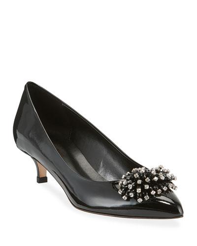 Bel Kitten-Heel Ornament Pumps, Black