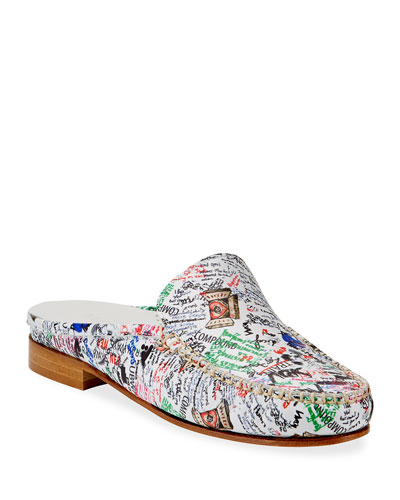 Sage Stamp-Print Leather Loafer Mules