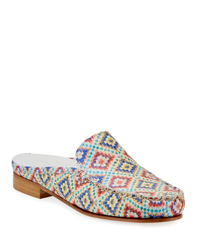 Sage Printed Leather Loafer Mules