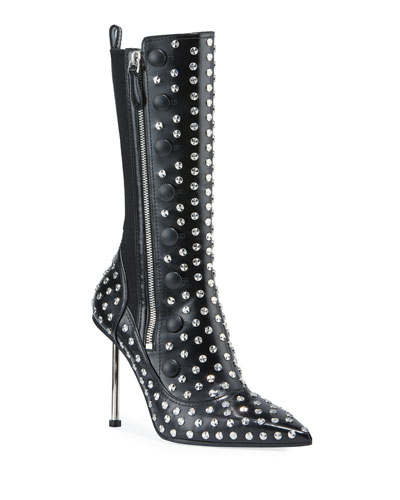 Victorian Studded Leather Pin-Heel Boots