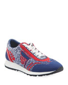Prada Knit Lace-Up Tennis Sneakers