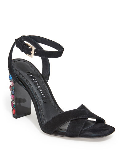b6a84bb2725 Quick Look. Alice + Olivia · Renia Embellished Block-Heel Sandals.  Available in Black