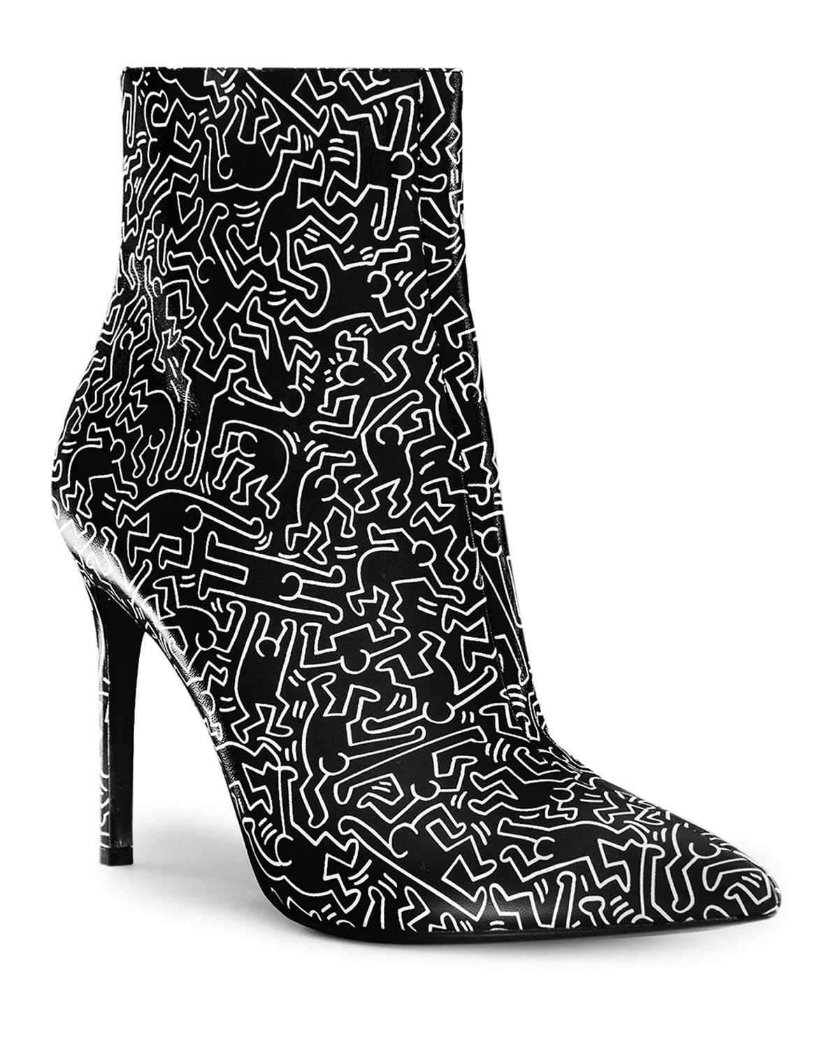 Keith Haring X Alice + Olivia Dancing Man Leather Booties in Black