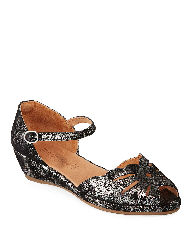 Lilly Moon Metallic Demi-Wedge Sandals
