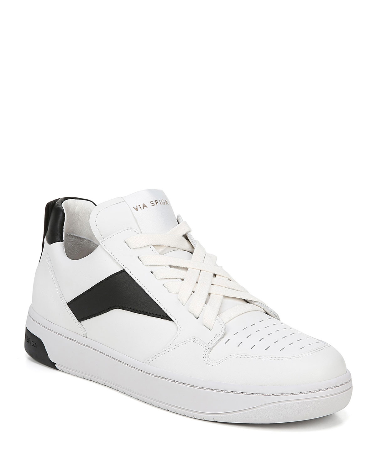 Lowrie Silky Leather Mid-Top Sneakers