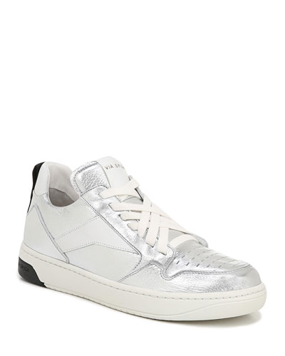 Lowrie Metallic Leather Mid-Top Sneakers
