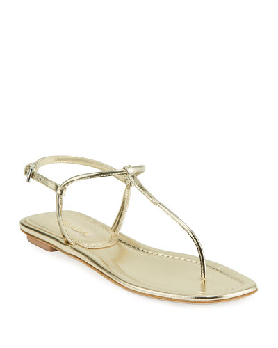 Flat Metallic Leather T-Strap Sandals