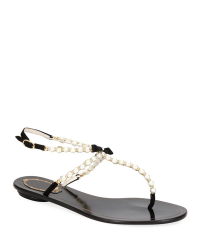 Pearly Beaded Flat Thong Sandals
