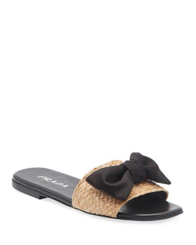 Raffia Bow Flat Slide Sandals