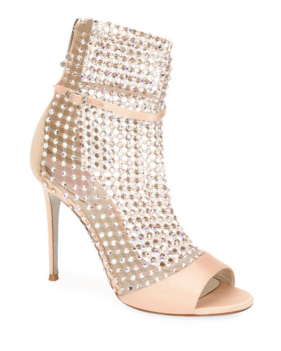 Crystal Mesh & Satin Caged Bootie Sandals